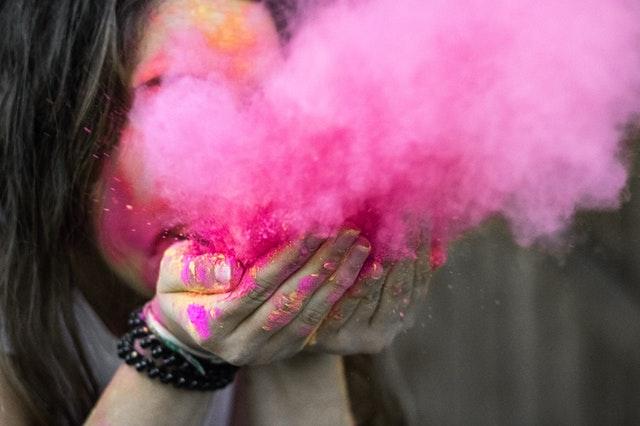 woman pink chalk